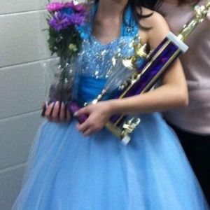 blue tulle pageant dress- WITH SLIP!!